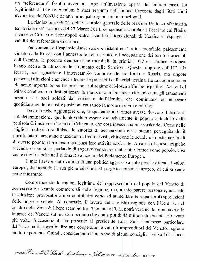 Lettera aperta dell'Ambasciatore ucraino in Italia, pagina 2