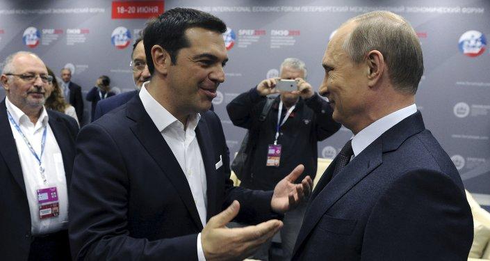 Premier greco Alexis Tsipras con il presidente greco Vladimir Putin