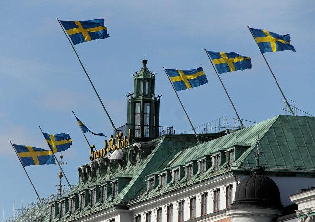 Bandiere della Svezia a Stoccolma
