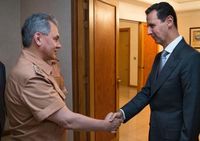 Incontro tra ministro della Difesa russo Sergey Shoigu e presidente siriano Bashar Assad