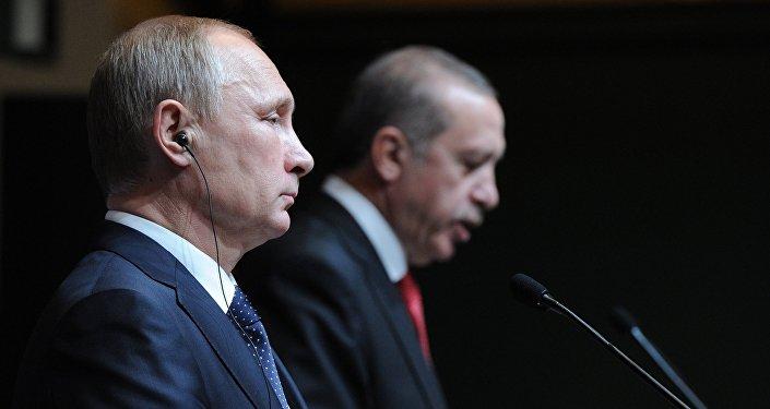December 1, 2014. Russian President Vladimir Putin, left, and President of Turkey Recep Tayyip Erdogan at the concluding news conference in Ankara