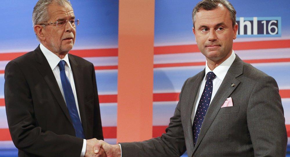 Candidati presidenziali Norbert Hofer e Alexander Van der Bellen, Austria