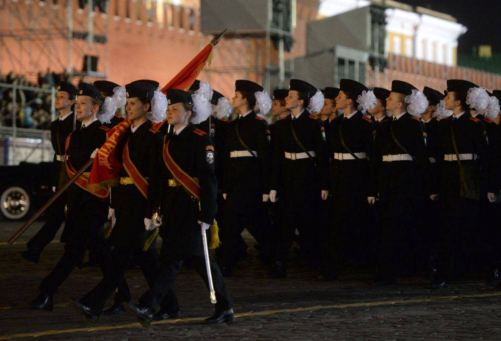 Militari in Piazza Rossa durante le prove