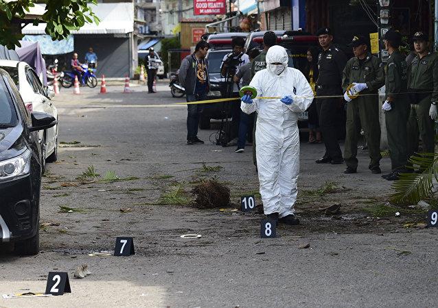 Il luogo dell'attentato a Hua Hin, Thailandia