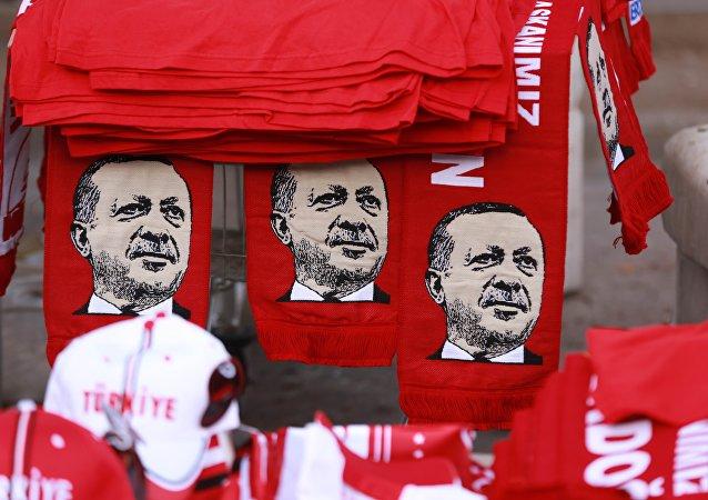 Sciarpe con l'immagine di Erdogan