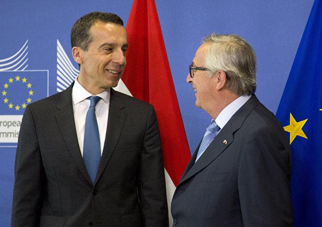 Christian Kern e Jean-Claude Juncker (foto d'archivio)