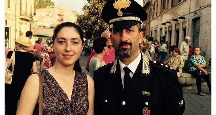 Tatiana Santi con il Capitano Massimiliano Ciafrei