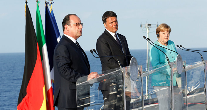 Matteo Renzi, Angela Merkel e Francois Hollande