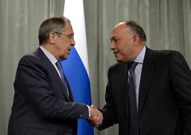 Il ministro degli Esteri russo Lavrov e il suo omologo egiziano Shoukry