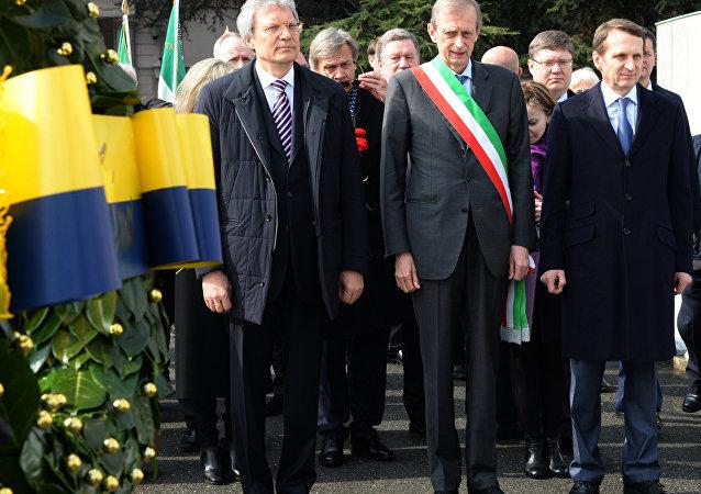 Il deputato russo Sergey Narishkin, il sindaco di Torino Piero Fassino e l'Ambasciatore russo in Italia Sergey Razov