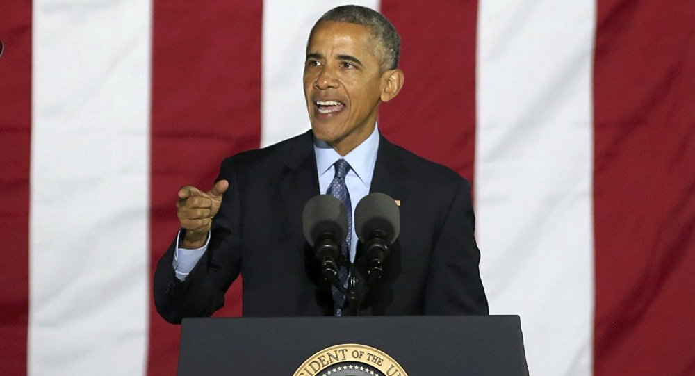 US President Barack Obama speaks during a campaign event for US Democratic presidential nominee Hillary Clinton in Philadelphia, Pennsylvania, US November 7, 2016.