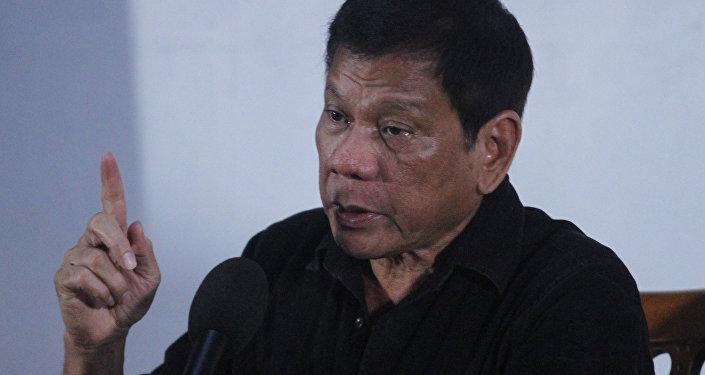Rodrigo Duterte, el presidente de Filipinas,durante la rueda de prensa en Davao
