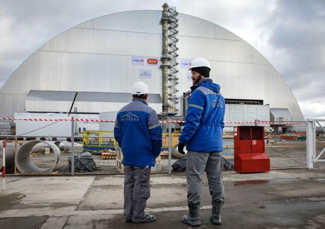 Il nuovo sarcofago che rinchiude il reattore n. 4 della centrale nucleare di Chernobyl