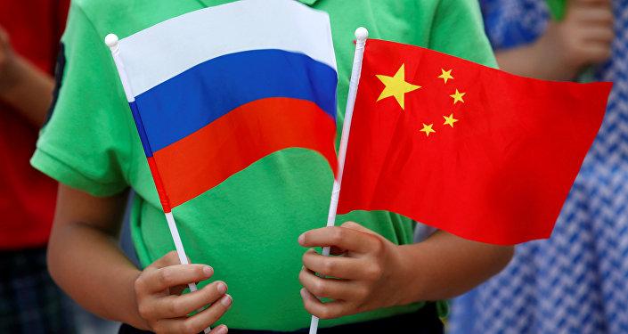 Bandiere di Russia e Cina