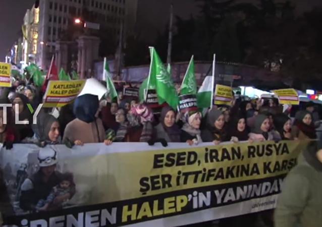 Dimostranti antirussi ad Istanbul