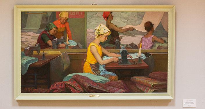 Iurij Gorbunov, Lavoratrici tessili nel reparto di finitura, 1970 circa