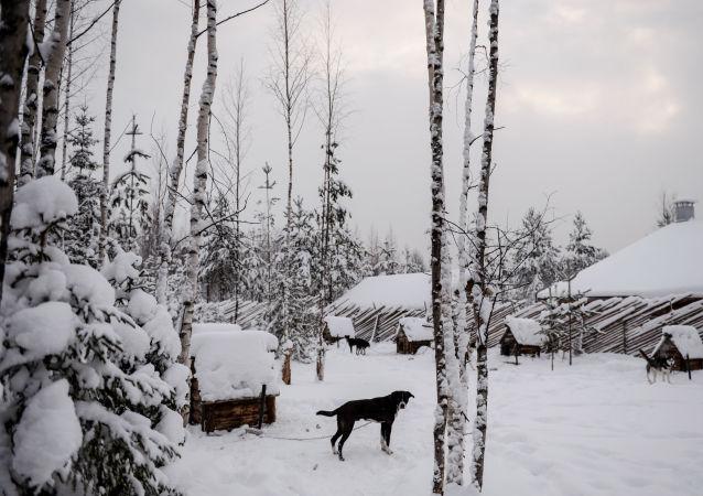 Villaggio innevato in Russia