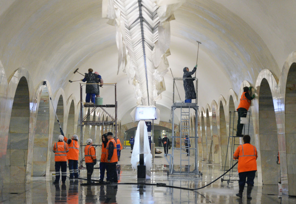 Lavori di ristrutturazione alla stazione Kuznetskiy Most.
