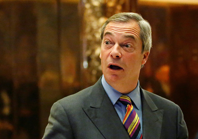 Nigel Farage stands in the lobby of Trump Tower in Manhattan, New York, U.S., December 15, 2016.