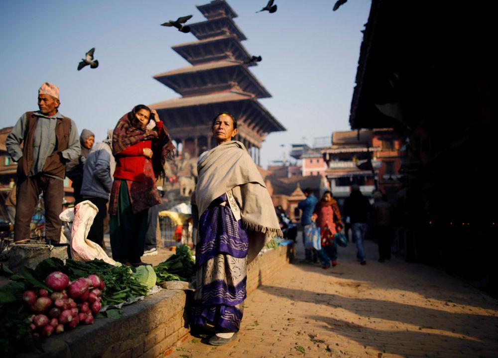 A un mercato a Bhaktapur in Nepal.