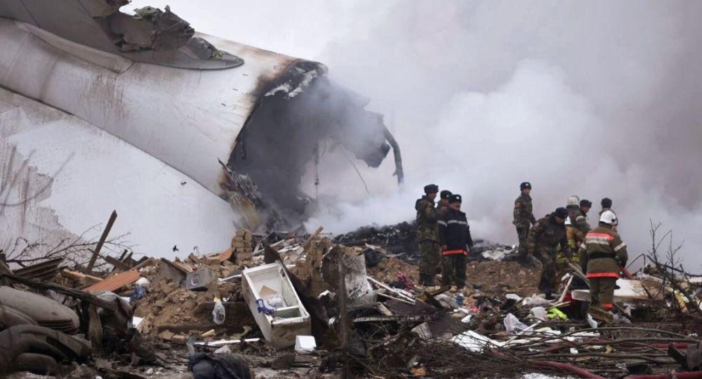 Al posto dello schianto dell'aereo turco in Kirghizistan