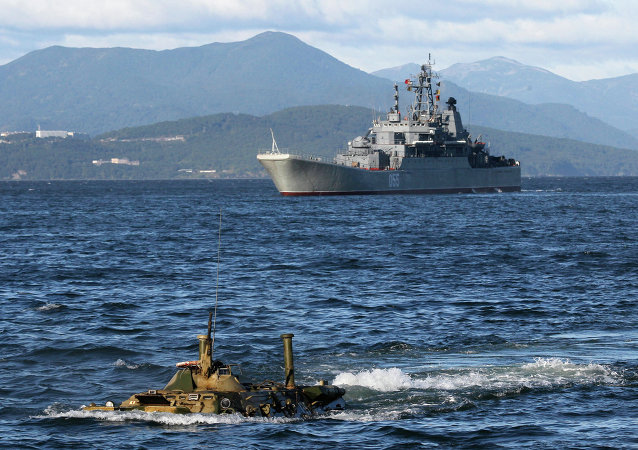 Training exercise to rebuff amphibious assault landing on shore of Kamchatka Peninsula