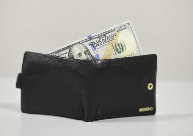 Portafoglio con una banconota da 100 dollari
