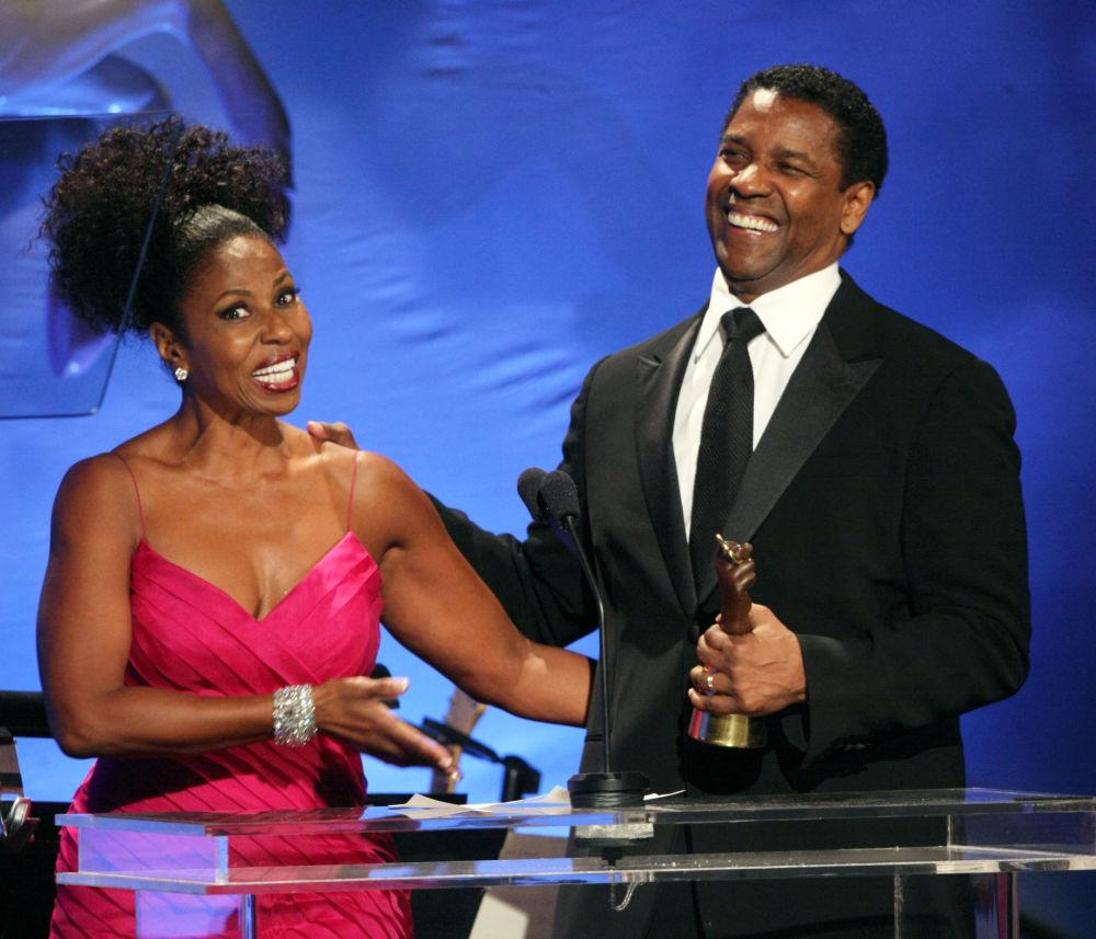 L'attore americano Denzel Washington e sua moglie Pualetta.