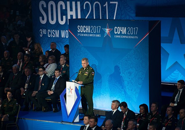 Russian Defense Minister Sergei Shoigu at the opening of the 3rd CISM World Military Winter Games
