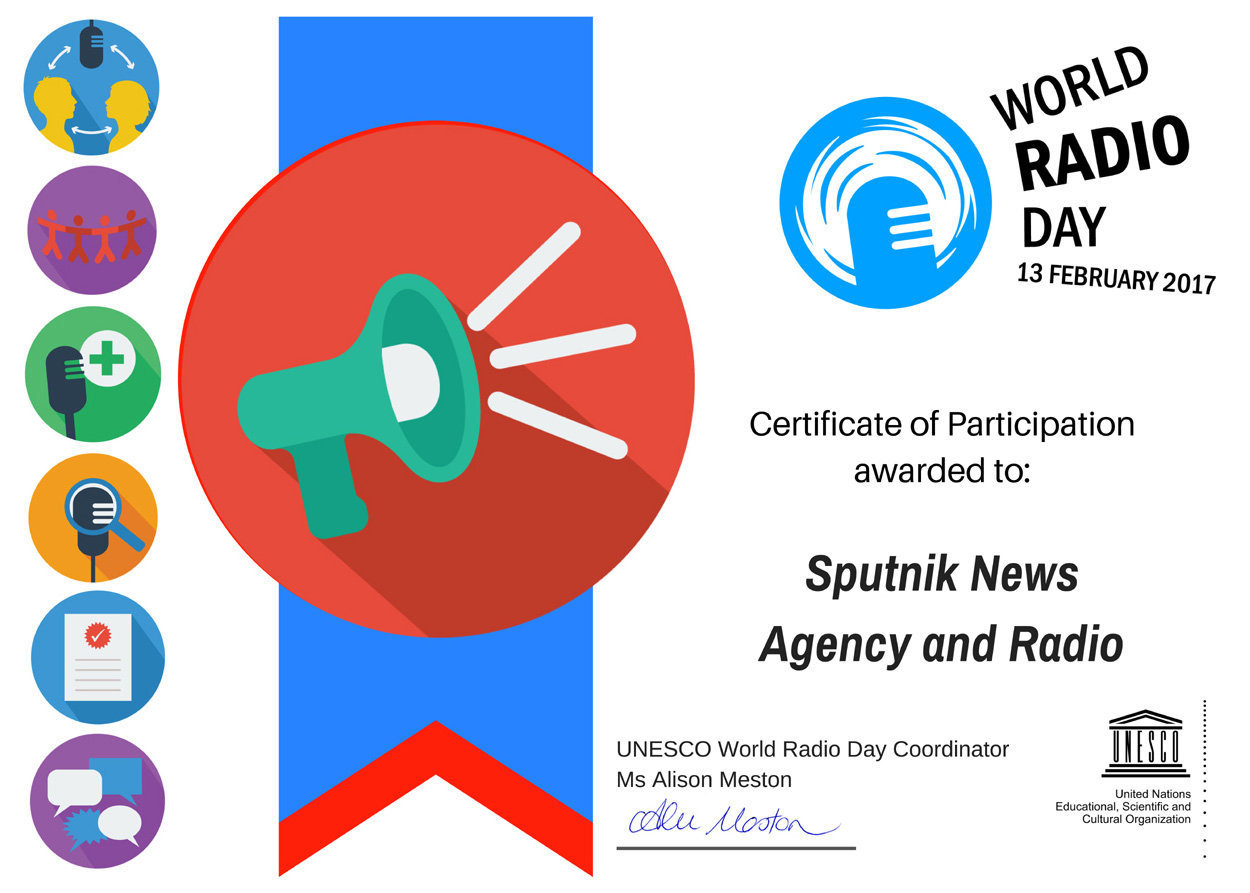 Diploma UNESCO per la partecipazione alla celebrazione della giornata Mondiale della radio