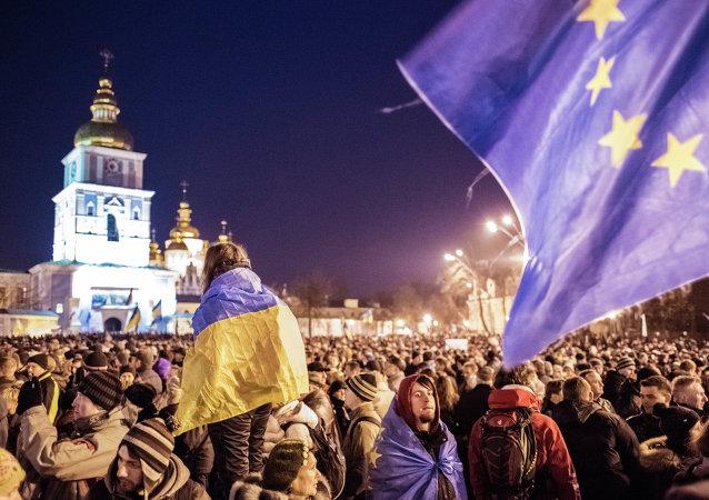 Una manifestazione in supporto dell'integrazione europea dell'Ucraina a Kiev.