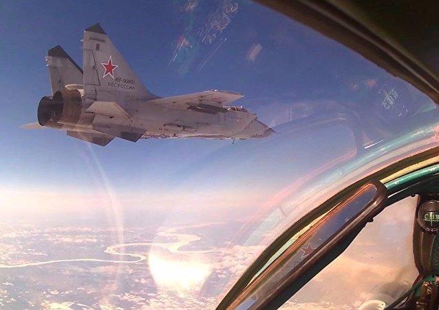 Esercitazioni dell`aviazione russa.