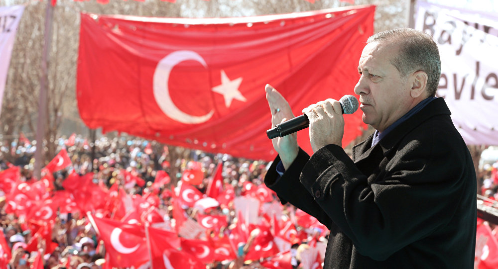 Turkish President Tayyip Erdogan makes a speech during an opening ceremony in the southeastern city of Gaziantep Turkey