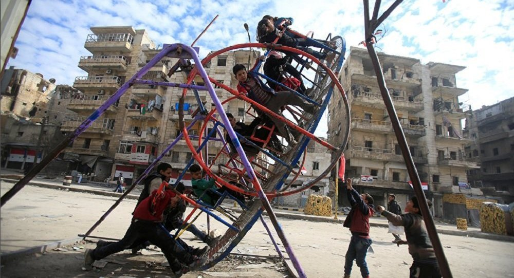 Bambini siriani ad Aleppo