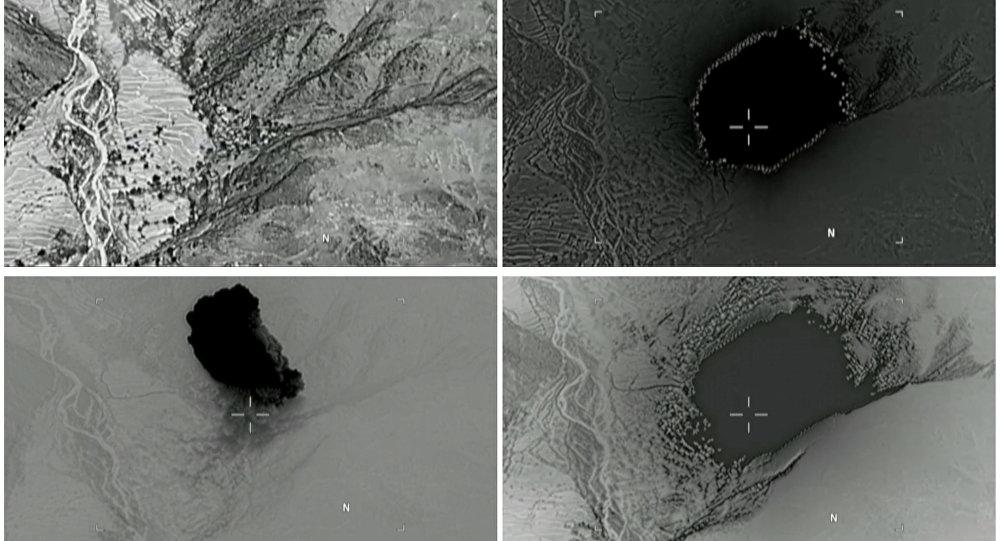 Immagini del Pentagono relative all'esplosione della madre di tutte le bombe in Afghanistan