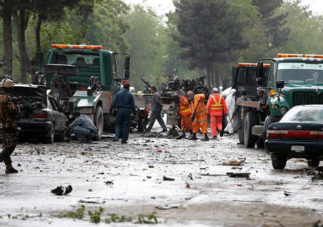 Al sito dell'attentato terroristico a Kabul, Afghanistan.