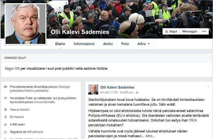 La pagina facebook del deputato svedese Olli Sademies