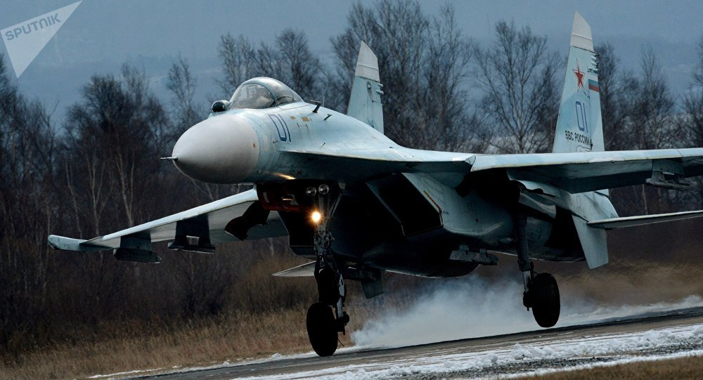 Su-27SM fighter lands as part of the tactical flight drill by fighter aircraft of the Eastern Military District conducted at Tsentralnaya Uglovaya military airfield in Primorye Territory.