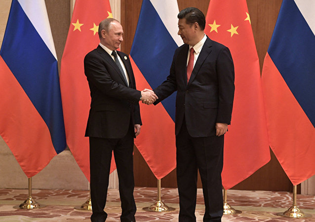 President Vladimir Putin and President of China Xi Jinping right during the Russia China talks at the One Belt One Road international forum