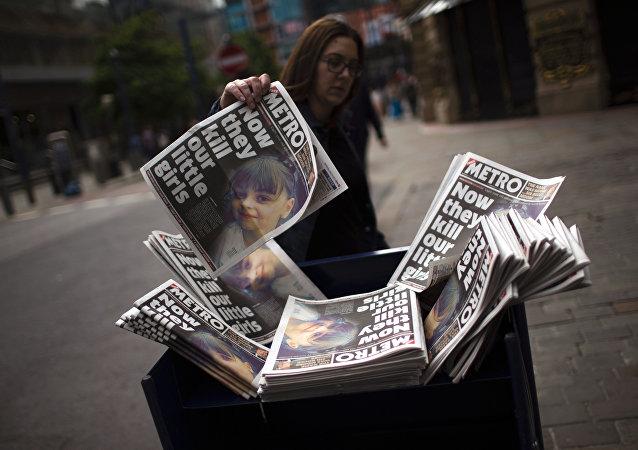 Giornali riportano l'attacco terroristico di Manchester (foto d'archivio)