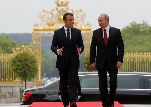 Incontro tra Vladimir Putin e Emmanuel Macron (foto d'archivio)