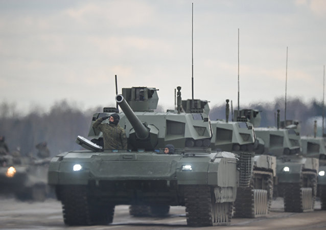 Tanks Armata of the mechanized columns of the Central Military District's Moscow Garrison during the rehearsal of the military parade to mark the 71st Anniversary of the Victory in the Great Patriotic War, at the Alabino training ground, Moscow Region.