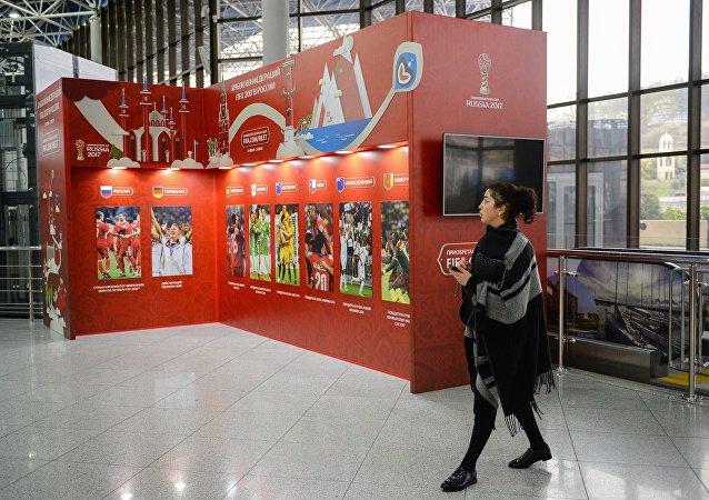 Stand della Confederations Cup all'aeroporto internazionale di Sochi