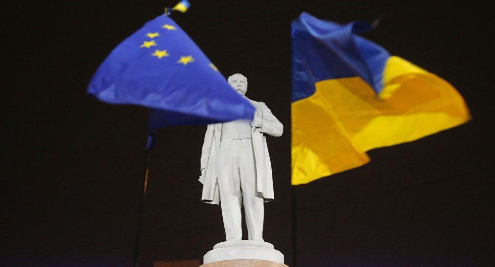 Bandiera Ucraina ed Europea.
