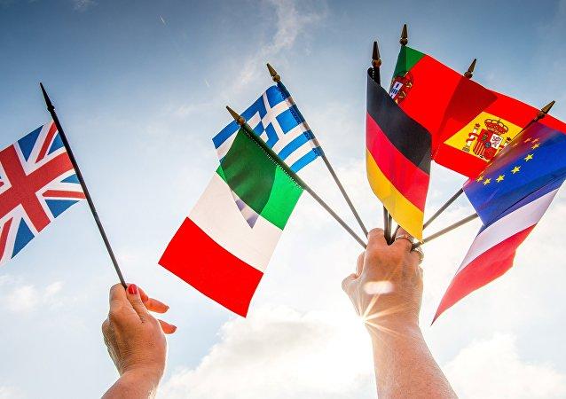 Le bandiere dei paesi europei e della Gran Bretagna.