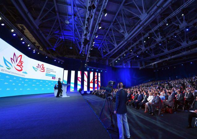Il presidente Vladimir Putin al Forum economico orientale.