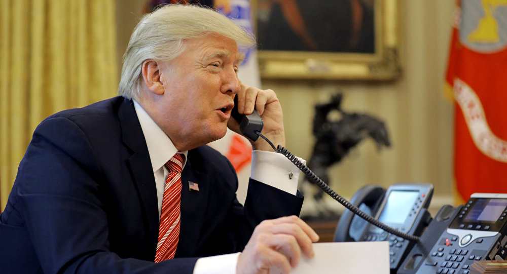 U.S. President Donald Trump congratulates Prime Minister Leo Varadkar of Ireland, during a phone call at the Oval Office of the White House in Washington, U.S., June 27, 2017