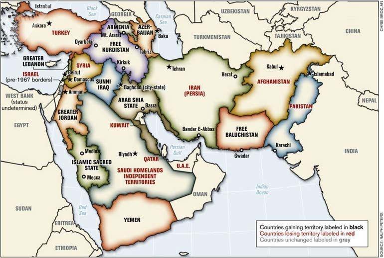 La mappa degli smembrati Stati del Medio Oriente