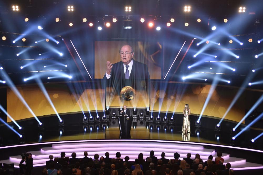 Presidente Fifa Joseph Blatter al premio Pallone d'oro, 2015.