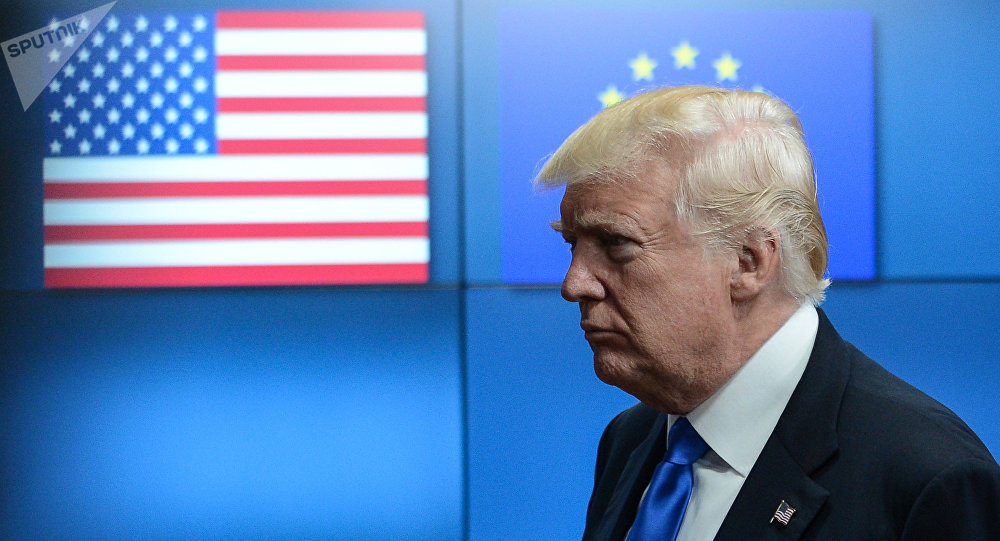 Donald Trump tra bandiere USA e UE